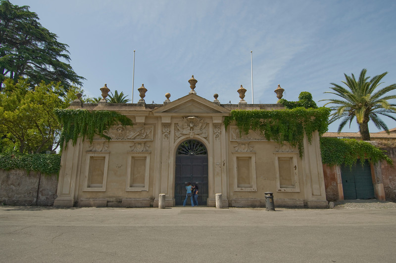 The gate at Villa del Priorato di Malta in Rome, Italy