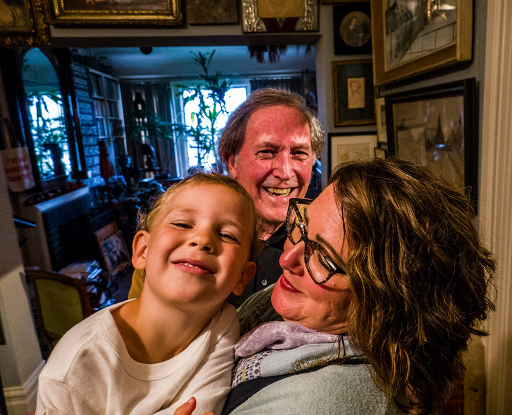 Robert's grandson in Farrah Spott's arms, with Robert in center - Robert Flynn Johnson party for his son and granddaughter, at his home in San Francisco