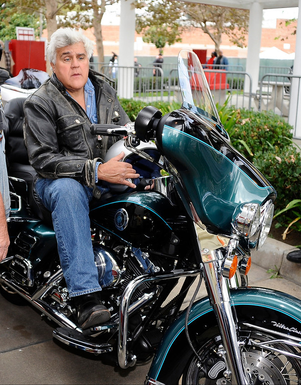 . October 21,2012. Glendale CA. Grand Marshal Jay Leno leads the pack at the start of the 29th Anniversary of the Harley-Davidson Love Ride. Thousands of bikers made their way from Glendale to Castaic Lake.  Photo by Gene Blevins/LA DailyNews