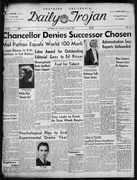 Daily Trojan, Vol. 38, No. 142, May 26, 1947