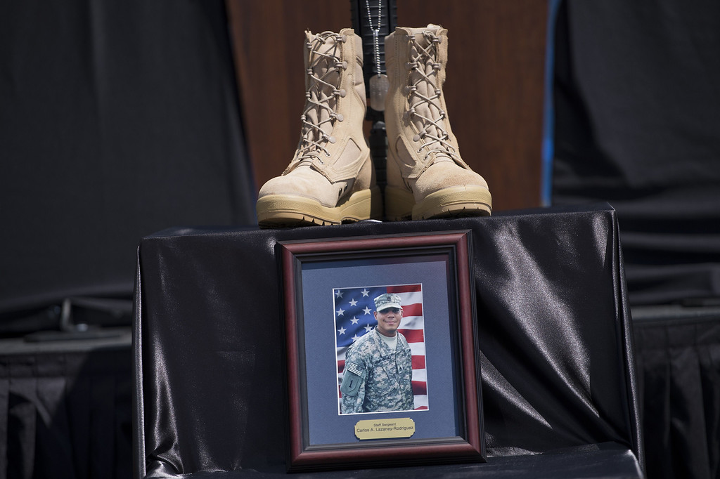 . A memorials Staff Sergeant Carlos Lazaney-Rodriguez is seen before a memorial service at Fort Hood on April 9, 2014 in Texas.    AFP PHOTO/Brendan SMIALOWSKI/AFP/Getty Images