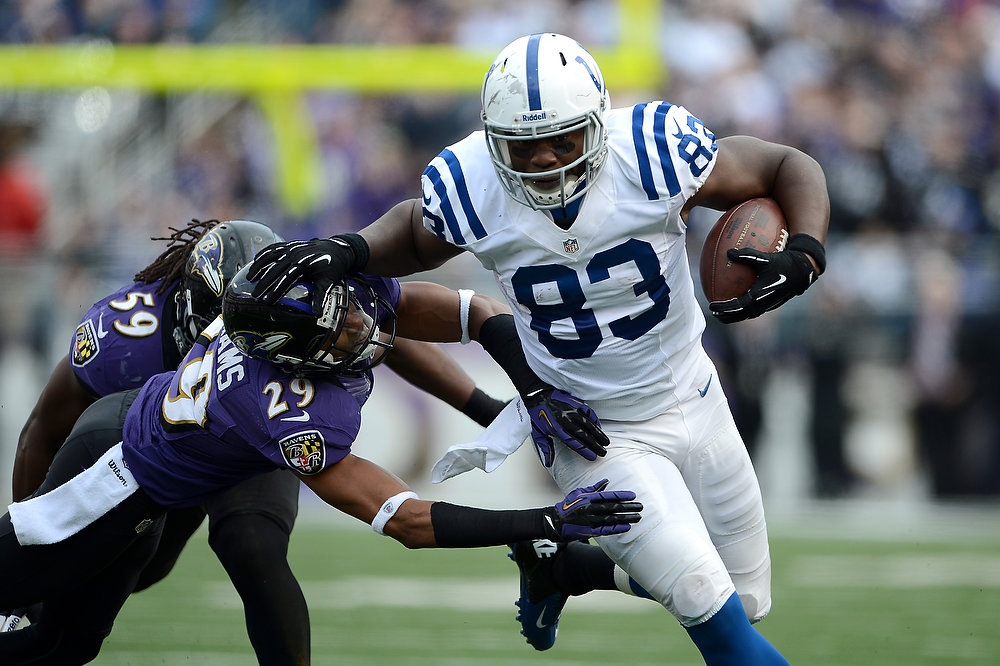 . Dwayne Allen #83 of the Indianapolis Colts runs for yards after the catch against Cary Williams #29 of the Baltimore Ravens during the AFC Wild Card Playoff Game at M&T Bank Stadium on January 6, 2013 in Baltimore, Maryland.  (Photo by Patrick Smith/Getty Images)