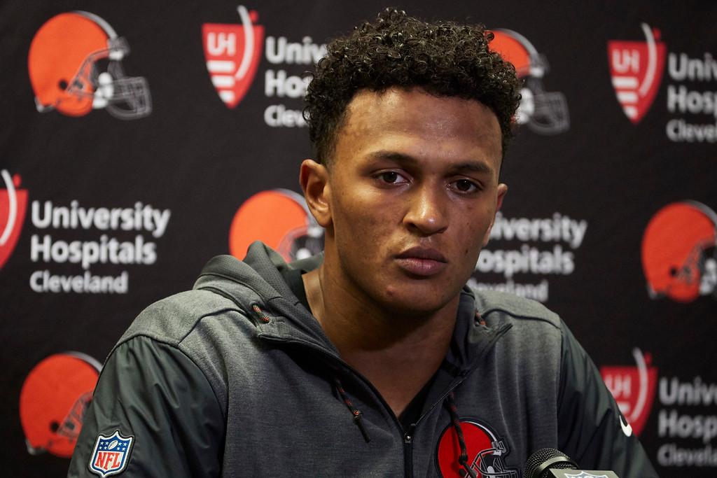 . Cleveland Browns quarterback DeShone Kizer talks to the media after an NFL football game against the Detroit Lions, Sunday, Nov. 12, 2017, in Detroit. (AP Photo/Rick Osentoski)