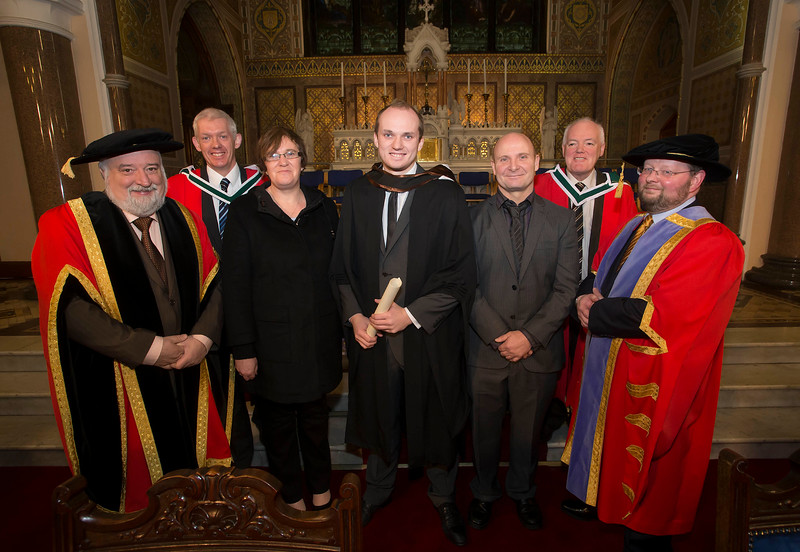 Pictured is Kyle O'Sullivan, Tramore, Co. Waterford who graduated Bachelor of Arts (Hons) in Law. Also pictured are Jack Walsh, Deputy Chairperson Govering body, Dr. Derek O'Byrne, Registrar of Waterford Institute of Technology (WIT) and Dr Richard Hayes, Dr. Michael Howlett, Jean and John O'Sullivan. Picture: Patrick Browne.