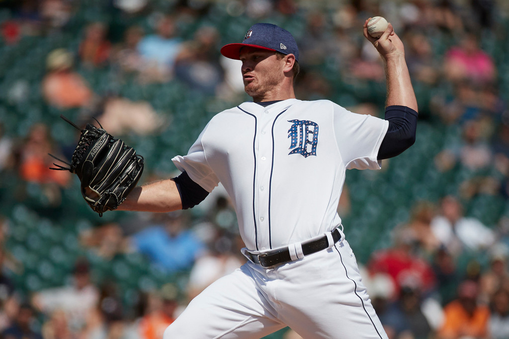 . Detroit Tigers relief pitcher Justin Wilson (38) throws in the ninth inning against the Cleveland Indians in the first baseball game of a doubleheader in Detroit, Saturday, July 1, 2017. Detroit won 7-4. (AP Photo/Rick Osentoski)
