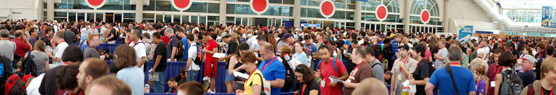 Pano of the line (read: mob) waiting to get into the exhibit hall in the morning