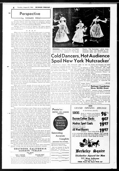 Summer Trojan, Vol. 11, No. 13, August 08, 1961