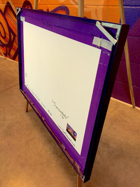 """$340...39""""x 26""""...87_3849 s Turquoise Turquoise...fabric on foam core...amethyst frame"""