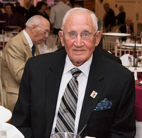 04/26/19 Wesley Bunnell | Staff Leondard Bagni received the Chuck McCarthy Award from the Bristol Tramps during their annual dinner on Friday night at the Aqua Turf Club. He plays golf at the age of 92 and is a 68 year member the Pequabuck Golf Club where he held the course record for many years.