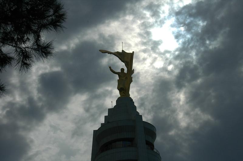 Turkmenbashi Statue in Clouds - Ashgabat, Turkmenistan