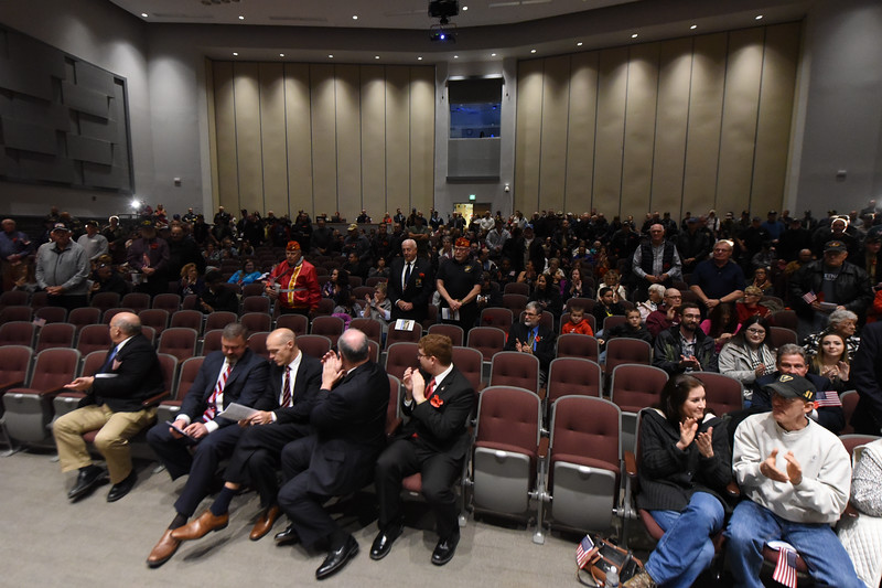 Veterans stand to be recognized. Phillipsburg area veterans Sunday, Nov. 11, 2018  were honored during the 21st annual William L. Nixon tribute. Hundreds attended the event at Phillipsburg High School in Lopatcong Township, in which the U.S. Department of Veterans Affairs has honored as a regional site for the observance of the commemoration.