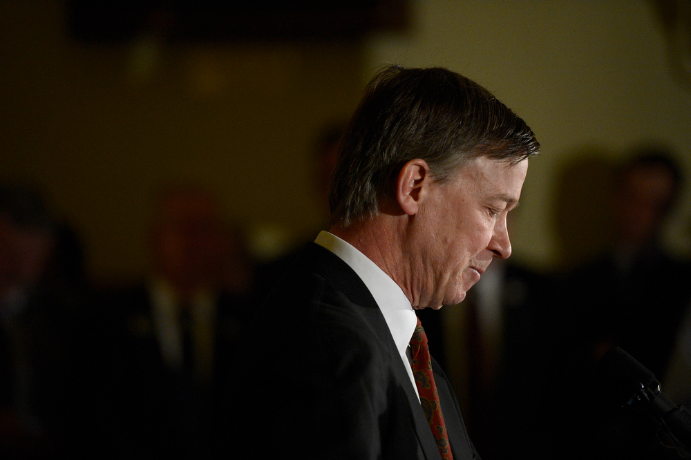. Colorado Governor John Hickenlooper holds a press conference at the State House in Denver, Colorado on March 20, 2013 to discuss the death of Tom Clements, executive director of the Colorado Department of Corrections. Clements was shot and killed in his Monument, Colorado home on Tuesday, March 19, 2013. (Photo By RJ Sangosti/The Denver Post)