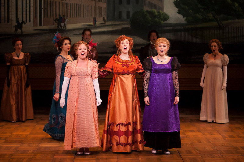 ". Left to right, front: Stephanie Rothenberg, Mary Michael Patterson and Ruth Gottschall and Stacie Bono in the Denver Center Theatre Company\'s world premiere of ""Sense & Sensibility The Musical.\""   Photo by Jennifer M. Koskinen"