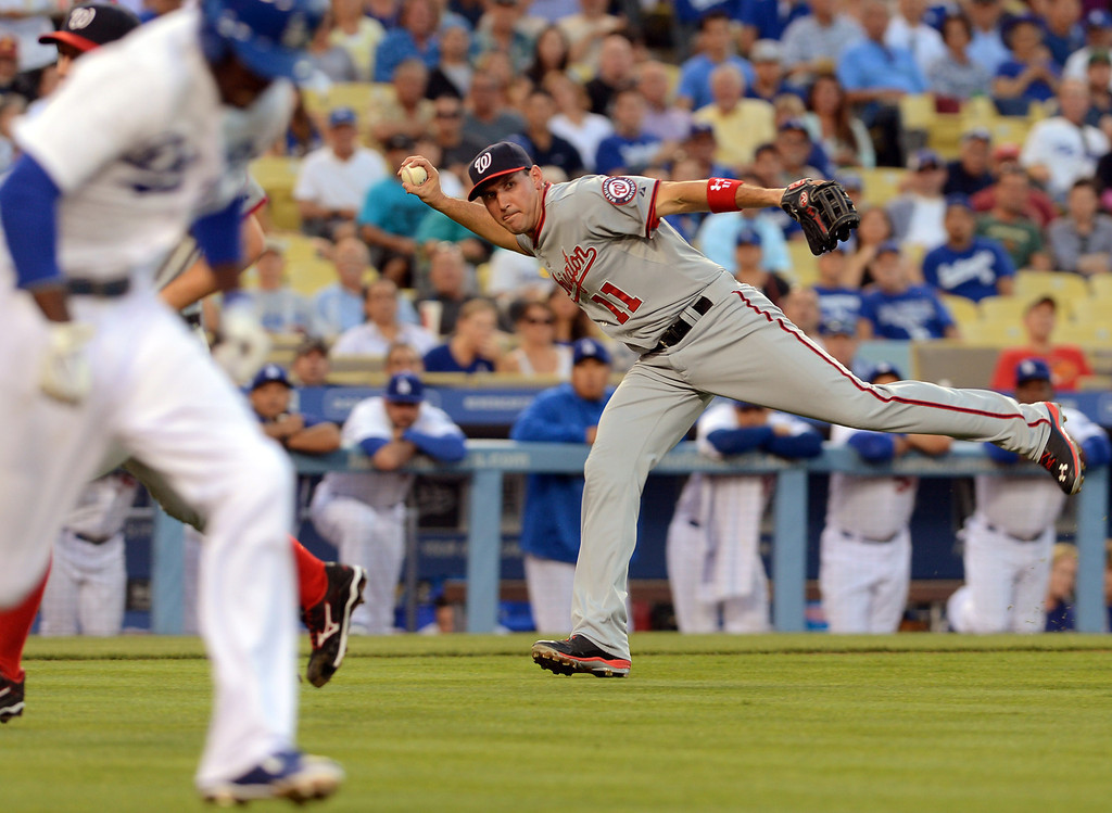 . Nationals third baseman Ryan Zimmerman throws out Dodgers Dee Gordon May 13, 2013 in Los Angeles, CA.(Andy Holzman/Staff Photographer)