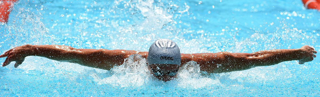 . Los Osos\'s Kyle Coan wins the 100 yard butterfly during the Division 2 CIF Southern Section Swimming Championships in the Riverside Aquatics Complex at Riverside City College in Riverside, Calif., on Saturday, May 17, 2014.  (Keith Birmingham/Pasadena Star-News)