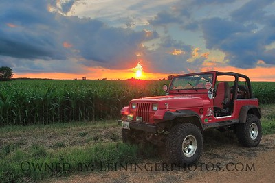 Sunset and Jeep