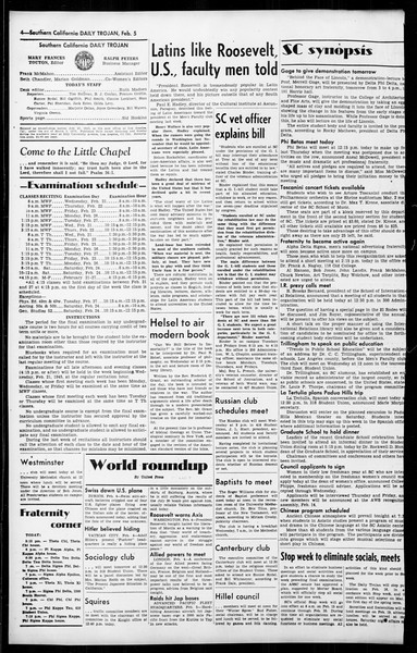 Daily Trojan, Vol. 36, No. 61, February 05, 1945