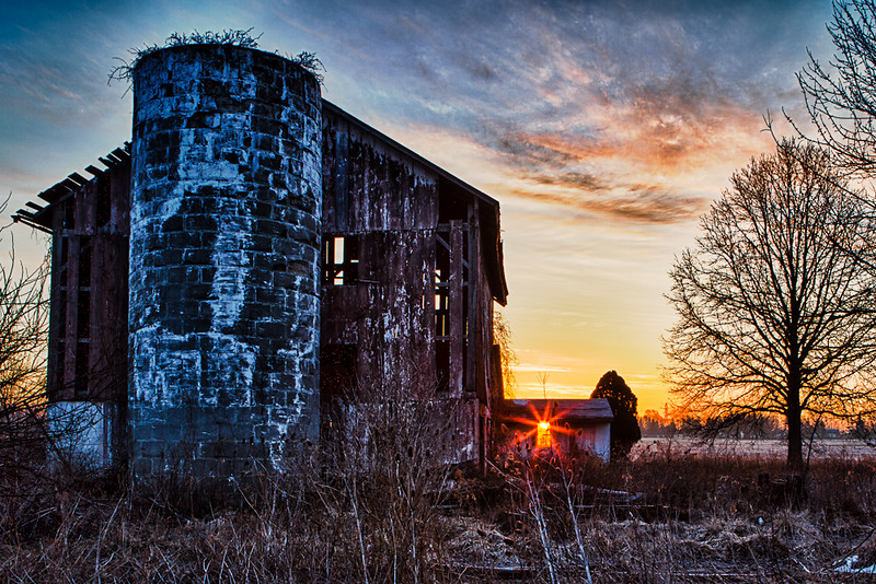 Sunrise in the barn