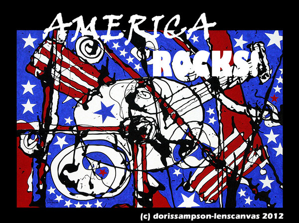 AMERICA ROCKS!  Red, White & Blue Art!