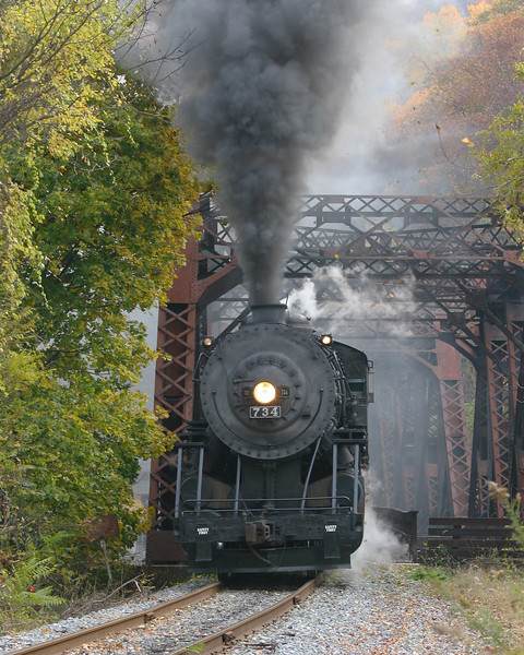 #734 crosses the trestle bridge (prior to the construction of the Allegany Highlands Trail) Western Maryland Scenic Railroad