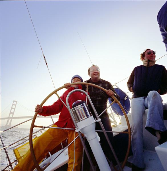 Sailing under the Golden Gate Bridge at Sunset