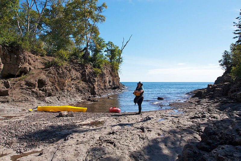 Rosie about to get on Lake Superior at Pebble Creek, Gooseberry Falls State Park MN.
