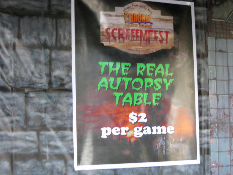 The Real Autopsy Table game was in the Barnyard Golf stand. $2 per game.