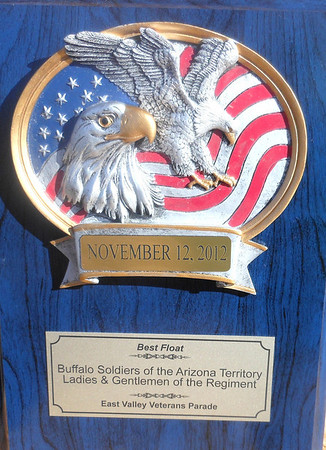 "November 17, 2012    East Valley Veterans Parade Dinner Awards:.   Awarded: ""BEST FLOAT"""