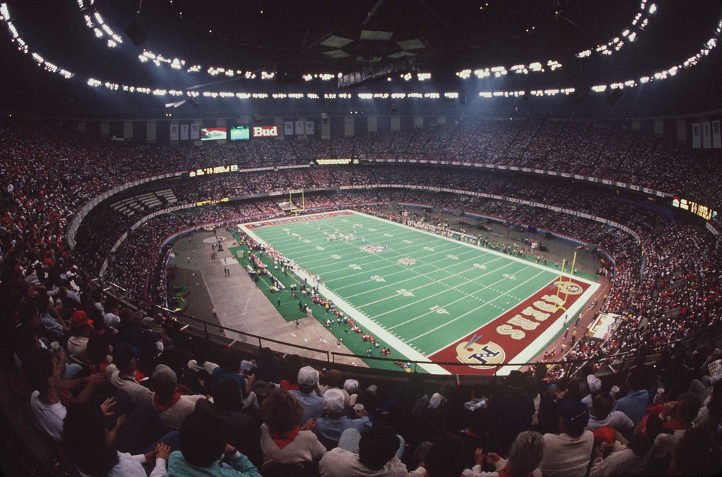 . The Denver Broncos take on the San Francisco 49ers in Super Bowl XXIV at the Superdome in New Orleans. (Allsport)