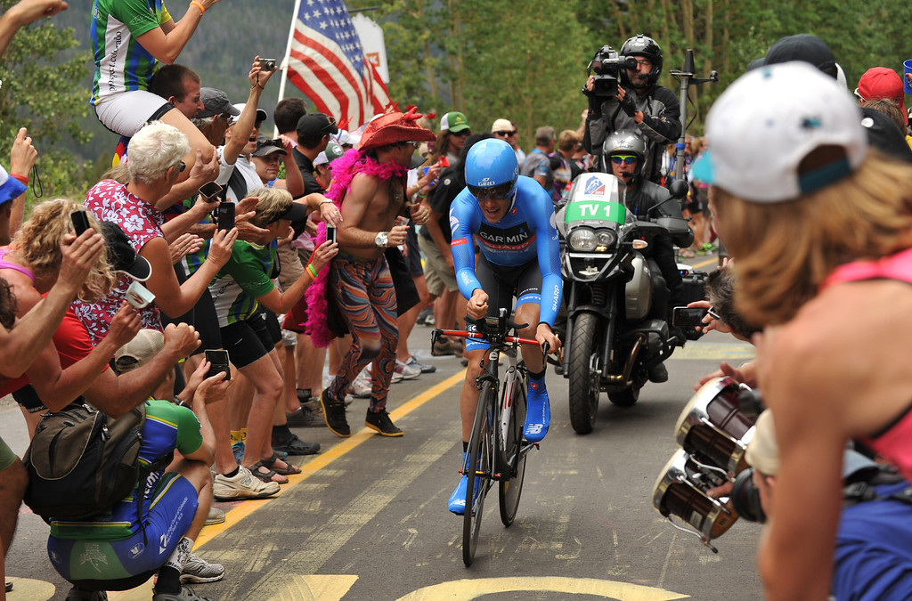 . Tom Danielson of Team Garmin-Sharp is climbing Vail pass during the 10-mile Individual Time Trial of 2013 USA Pro Challenge, August 23, 2013. (Photo by Hyoung Chang/The Denver Post)