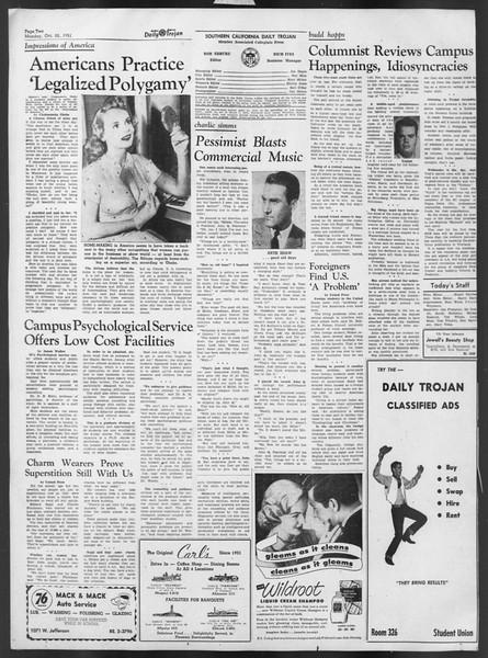 Daily Trojan, Vol. 43, No. 26, October 22, 1951