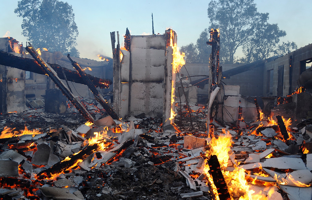 . One of the homes destroyed from the Silver Fire near Banning, California August 7, 2013.  Hundreds of residents of three small communities in the high desert east of Los Angeles were evacuated on Wednesday as an out-of-control wildfire headed toward them. Photo by Gene Blevins/LA Daily News