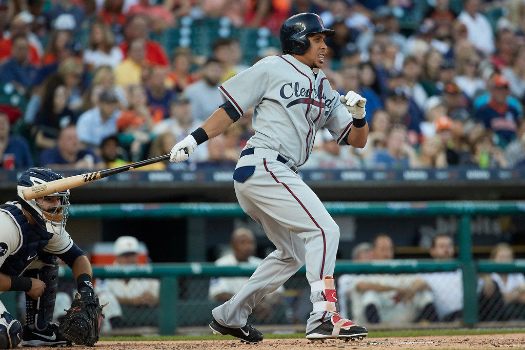 . Cleveland Indians Michael Brantley hits a single against the Detroit Tigers during the fourth inning in the second baseball game of a doubleheader in Detroit, Saturday, July 1, 2017. (AP Photo/Rick Osentoski)