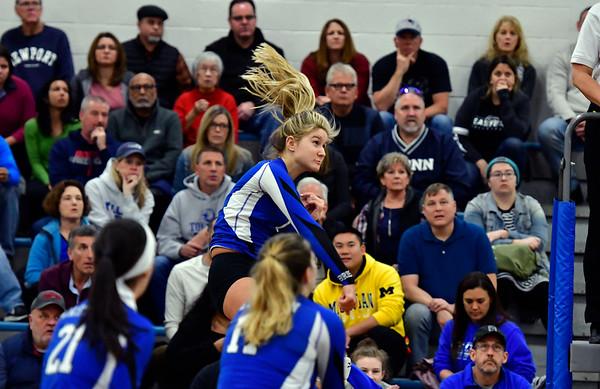 11/10/2018 Mike Orazzi   Staff Bristol Eastern's Zoe Lowe (7) during the Class L Quarterfinal Girls Volleyball Tournament in Bristol Saturday.