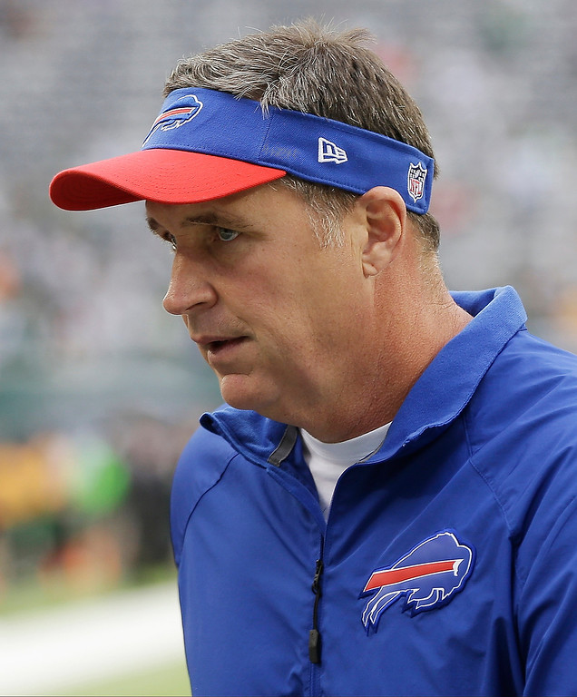 . Buffalo Bills head coach Doug Marrone walks on the field before an NFL football game against the New York Jets Sunday, Sept. 22, 2013, in East Rutherford, N.J. (AP Photo/Seth Wenig)