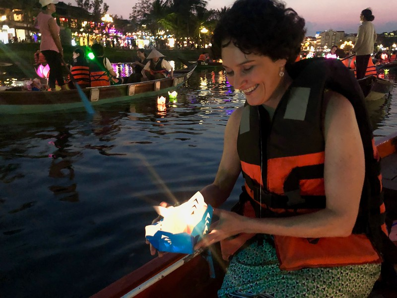 Making our wish! - Full Moon Lantern Festival - Hoi An