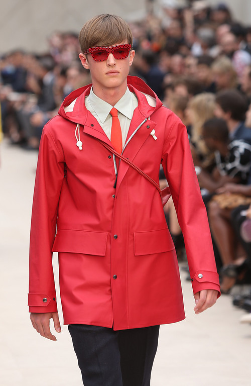 . A model wear a creation by Burberry during London Men\'s spring summer fashion collections 2014, in London, Tuesday, June 18, 2013. (Photo by Joel Ryan/Invision/AP)