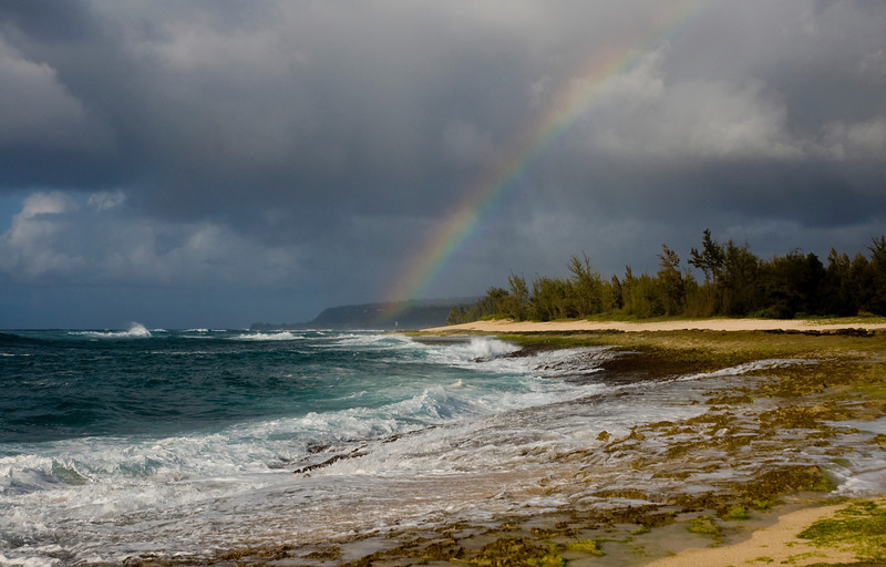 Rainbow over Puena Point  Beach  Hale'iwa North Shore of O'ahu, Hawai'i