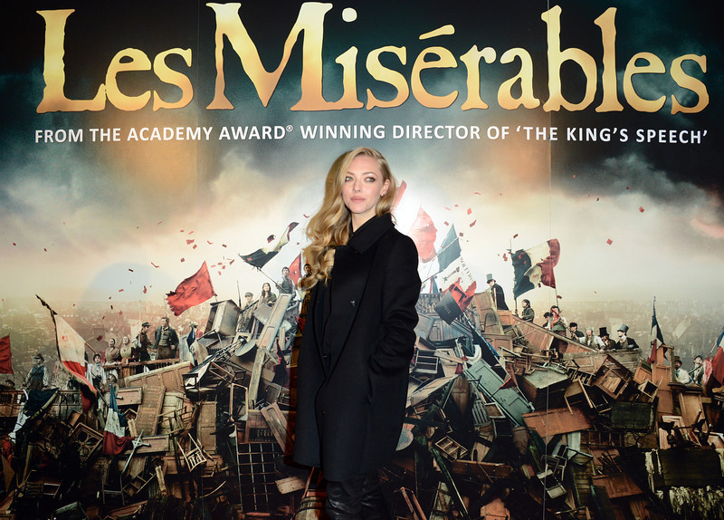 . Amanda Seyfried poses for a photograph as she arrives at the after party for the premiere of Les Miserables at the Roundhouse, London, Wednesday, Dec. 5, 2012. (Photo by Jon Furniss/Invision/AP)
