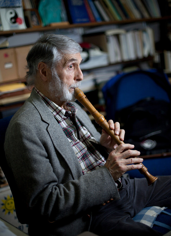 . Peter G. Neumann plays a recorder in his office at SRI International in Menlo Park, Calif. Wednesday, Jan. 9, 2012.  At 80, computer scientist Neumann has no interest in retiring. After getting started down his path to a mathematics career by a visit with Albert Einstein, worked with some of the earliest computers at Harvard and Bell Labs. Sixty years later, Neumann is spearheading an effort to reboot the basic architecture of the computer to make those invaluable machines--and the Internet--more secure from malware and other security intrusions by hackers.  (Patrick Tehan/Staff)