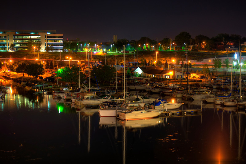 """Marina in Erie, next to the Sheraton Hotel. Nice night before Memorial Day, water is calm and peaceful, not to say about nearby bars and all of the """"drive by"""" locals in their loud with music or supercharged engines."""