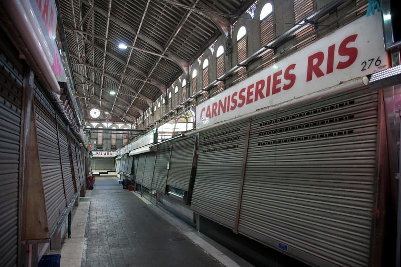 Closed stands, Sant Antoni market, town of Barcelona, autonomous commnunity of Catalonia, northeastern Spain