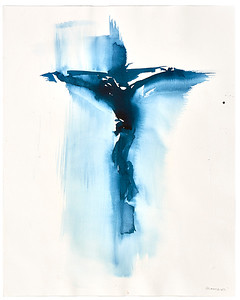 """Crucifix #13"" (acrylic on watercolor paper) by Veronique Gambier"