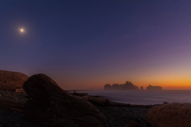 Moon rises over Rialto Beach and James Island - LaPush, Washington