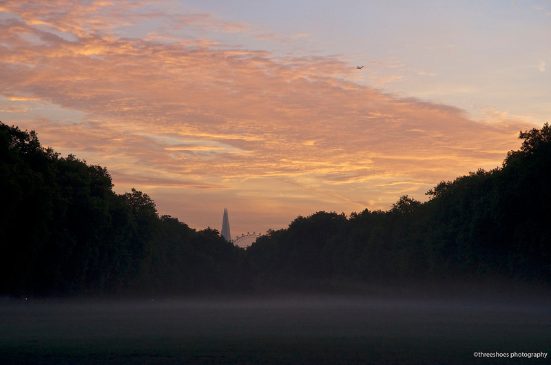 Hyde Park on a misty morning.