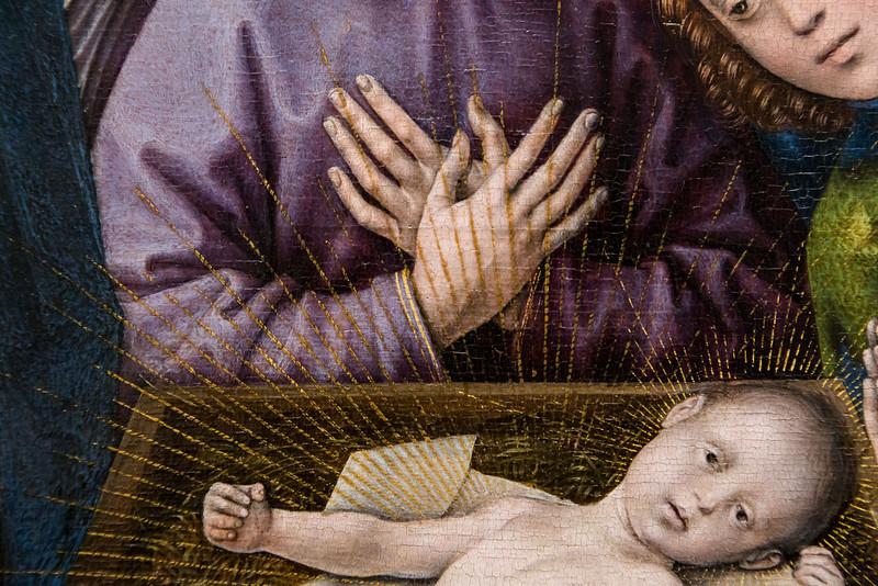 Hugo van der Goes: Anbetung der Hirten, Detail, um 1480 [Gemäldegalerie Berlin, nach Restaurierung]