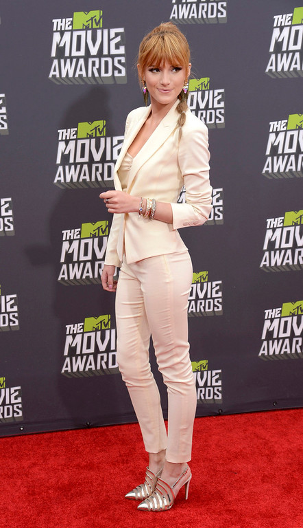 . Actress Bella Thorne arrives at the 2013 MTV Movie Awards in Culver City, California April 14, 2013.   REUTERS/Phil McCarten