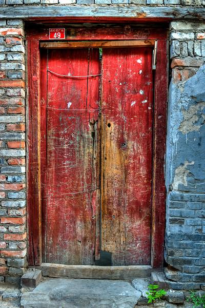 Beijing Hu Tong Red Door #3  http://sillymonkeyphoto.com/2011/01/02/beijing-hu-tong-red-door-3/
