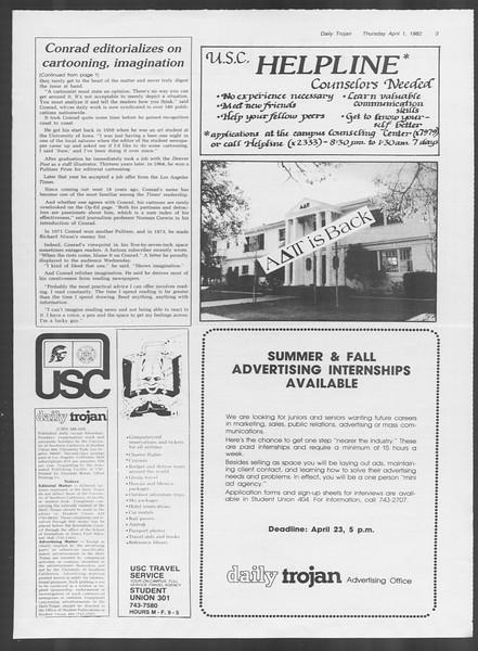 Daily Trojan, Vol. 91, No. 55, April 01, 1982
