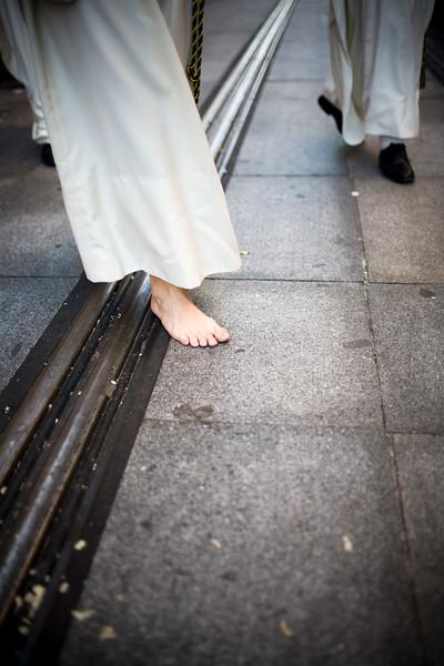 Barefoot penitent, Holy Week 2008, Seville, Spain